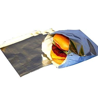 Sac à hamburger de luxe en feuille de métal, 5,5 po x 1,25 po x 6,75 po, argenté