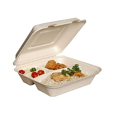 Eco Guardian Compostable Bagasse 3-Compartment Clamshells, 9