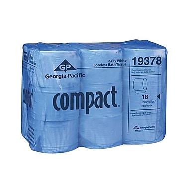 Georgia PacificMD – Papier hyg. haute capacité gaufré 2 épaisseurs sans mandrin Compact, 3,85 po x 4,05 po, blc, 1500 feuilles