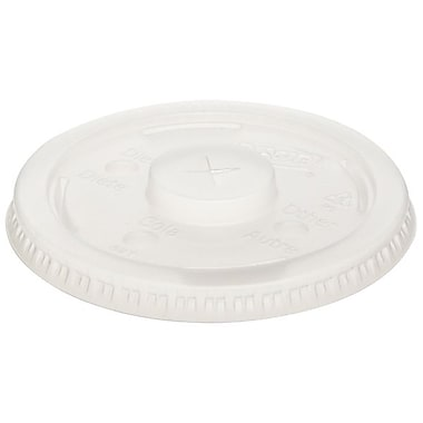 Dixie® Plastic Lid With Straw Slot For 12 - 21 oz. Cups, Translucent