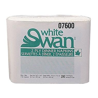 Kruger White SwanMD – Serviettes à dîner de qualité supérieure, 2 épaisseurs, pli 1/8, blanc