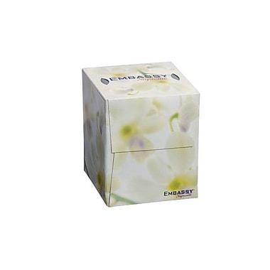 EmbassyMD – Mouchoirs Supreme 8,4 x 8,2 po à 2 épaisseurs en boîte cube, blanc, 36/paquet