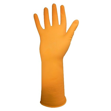 Ronco Dura-Fit Flocklined Latex Reusable Gloves, Yellow