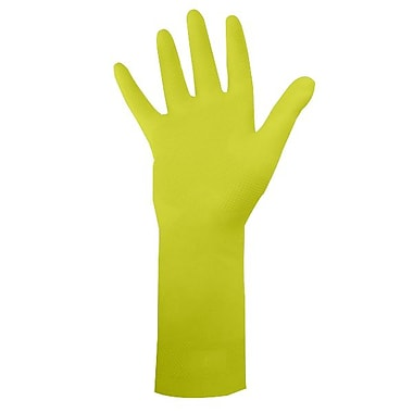 Ronco Dura-Fit Flocklined Latex Reusable Gloves, Yellow, Large
