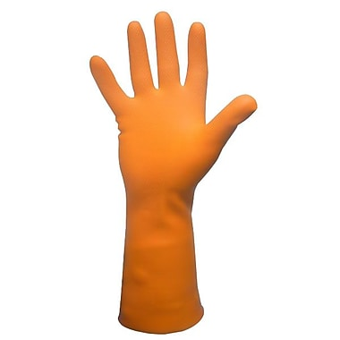 Ronco Ultra-Fit Flocklined Latex Reusable Gloves, Orange, XL