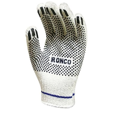 Ronco Poly/Cotton String Knit Gloves With PVC Dots, Natural, Small