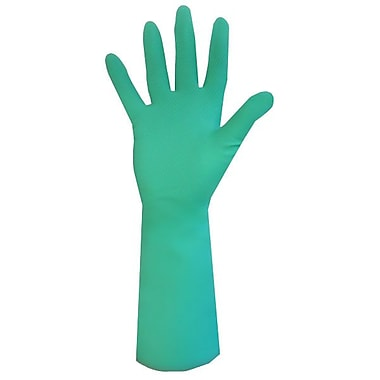 Ronco Sol-Fit Flocklined Nitrile Reusable Gloves, Green, Medium