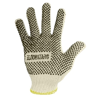 Ronco Poly/Cotton String Knit Gloves With PVC Dots, Wrist Surging, Natural, Small