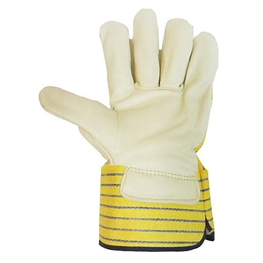 Ronco Grain Leather Gloves With Safety Cuff, Yellow/Blue, Size 1