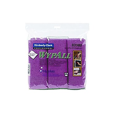 WYPALL – Chiffons en microfibres avec protection Microban, rouge