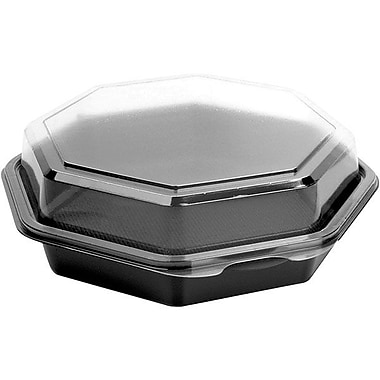 SoloMD – Contenant à charnières de 7,5 po Octaview, 21 oz, noir/transparent