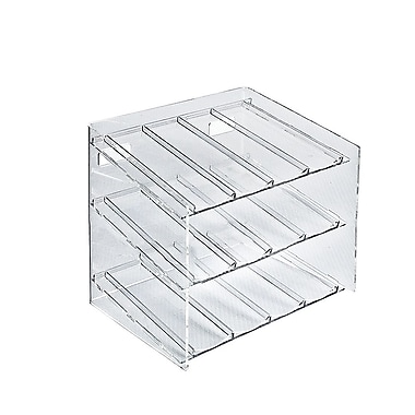 Azar Displays 3-Tier 12 Compartment Molded Acrylic Cosmetic Counter Display (222483)