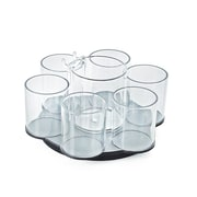 Azar Clear Each 6 Cup Counter Cosmetic Organizer with Cottonball Dispenser