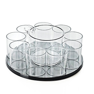 Azar Displays 9 Cup with Cottonball Dispenser Acrylic Counter Cosmetic Organizer (222984)