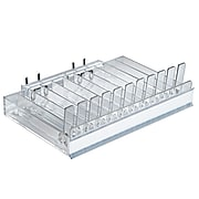 Azar Displays Spring Load & C-Channel Pegboard 11 Compartment Pusher Tray, 2/Pk