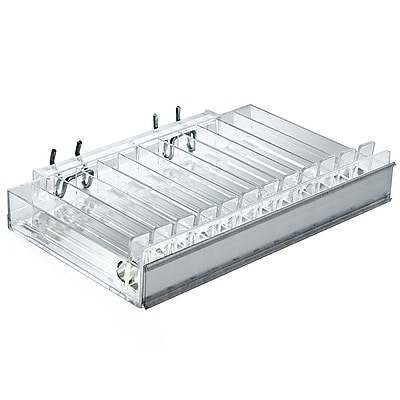 Azar Displays 12 Compartment Pusher Tray Acrylic Cosmetic Counter Display, 2/Pk