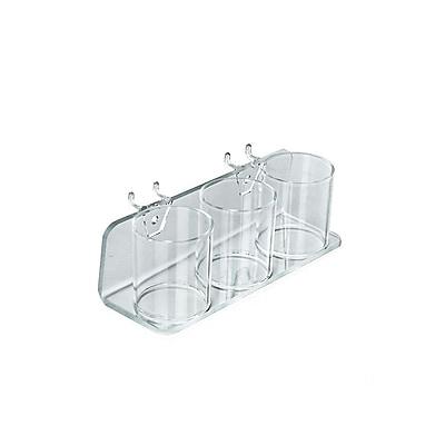 Azar Displays 3 Cup for Peg/Slat Acrylic Tray 324582