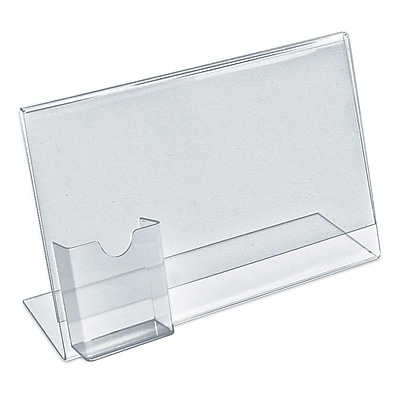 Azar Displays Sign Holder with Attached Brochure Holder, 8.5 x 11-inch 10/Pack (252043)