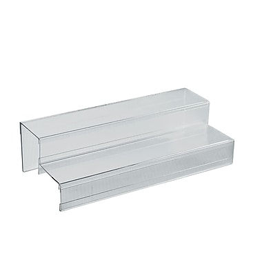Azar Displays 2-Tier Acrylic Counter Step Display, 4/Pack (326049-4 PACK)