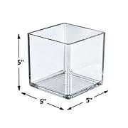 """Azar Displays 5"""" Cube Crystal Styrene Bin, 4/Pk"""