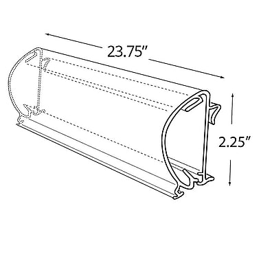 Azar Displays – Porte-affiche en C à rabat arrondi, 23,75 larg. x 2,25 haut. (po) transparent (600038)
