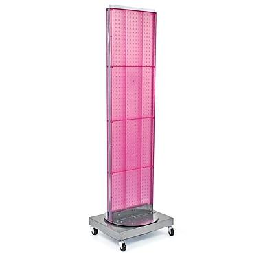 Azar Displays – Support de plancher autoportant à panneau perforé, 16 x 60 po, rose (700253-PNK)