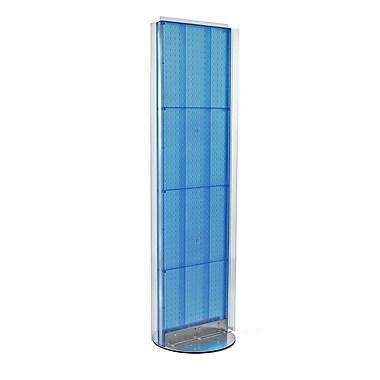 Azar Displays – Support de plancher avec panneau perforé des deux côtés, 60 x 16 po, bleu (700256-BLU)
