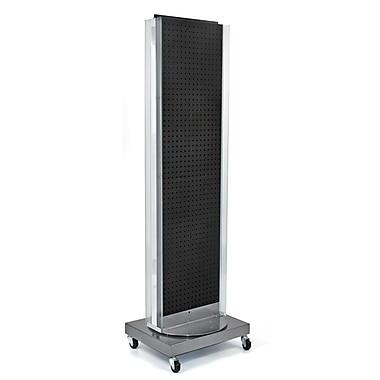 Azar Displays – Support de plancher avec panneau perforé, base rotative, 60 x 16 po, noir (700258-BLK)