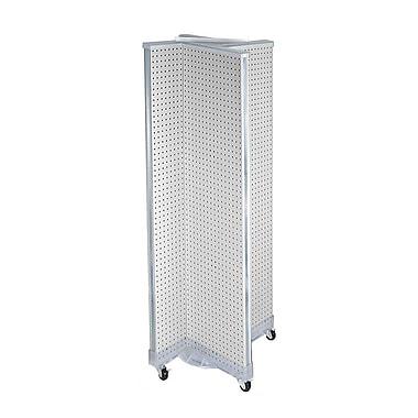Azar Displays – Présentoir de plancher rotatif à panneaux perforés, 60 x 16 po, blanc (700421-WHT)
