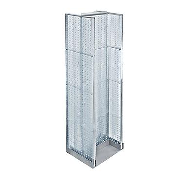 Azar Displays – Présentoir de plancher en H à panneaux perforés, 60 x 16 po, transparent (700430-CLR)