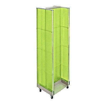 "Azar Displays 16"" x 60"" Pegboard H-Unit Floor Display with Wheels Green"
