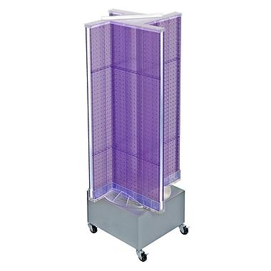 Azar Displays – Présentoir de plancher rotatif à panneaux perforés, 54 x 13,5 po, violet (700445-PUR)