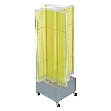 Azar Displays – Présentoir de plancher rotatif à panneaux perforés, 54 x 13,5 po, jaune (700445-YEL)