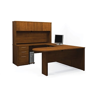 Bestar Embassy U-Shaped Workstation Kit, Tuscany Brown