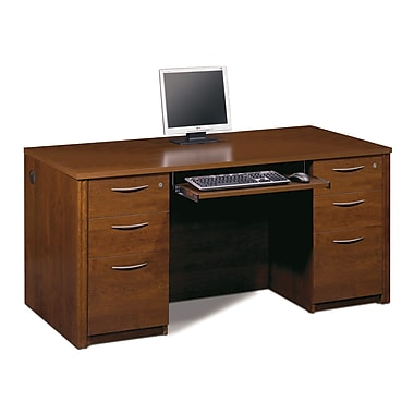 Bestar Embassy Executive Desk Kit with Fully Assembled Pedestals, Tuscany Brown