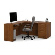 Bestar Embassy L-Shaped Workstation Kit with Fully Assembled Pedestals, Tuscany Brown