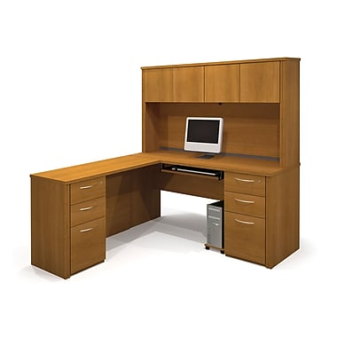 Bestar Embassy L-Shaped Workstation Kit with Two Fully Assembled Pedestals, Cappuccino Cherry