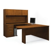 Bestar Embassy U-Shaped Workstation Kit with Fully Assembled Pedestals, Tuscany Brown