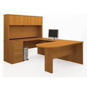 Bestar Embassy U-Shaped Workstation Kit with Fully Assembled Pedestals, Cappuccino Cherry
