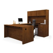 Bestar Embassy U-Shaped Workstation Kit with Fully Assembled Pedestal, Tuscany Brown