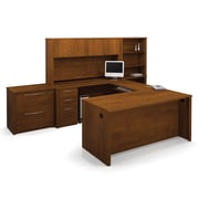 Bestar Embassy U-Shaped Workstation Kit with Two Fully Assembled Pedestals, Tuscany Brown