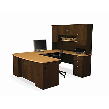 Bestar Manhattan U-Shaped Workstation, Secret Maple & Chocolate