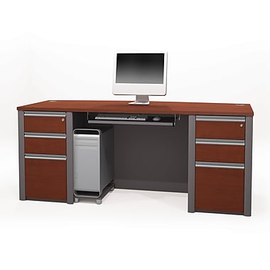 Bestar Connexion Executive Desk Kit with Fully Assembled Pedestals, Bordeaux/Slate