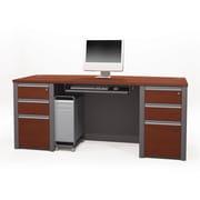 Bestar Connexion Executive Desk Kit with Fully Assembled Pedestals, Bordeaux/Slate