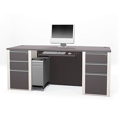 Bestar Connexion Executive Desk Kit with Fully Assembled Pedestals, Slate/Sandstone