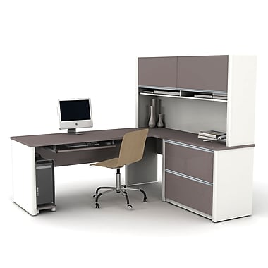 Bestar Connexion L-Shaped Workstation Kit with Assembled Oversized Pedestal, Slate/Sandstone