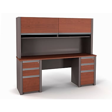 Bestar Connexion Credenza and Hutch Kit including Fully Assembled Pedestals, Bordeaux/Slate