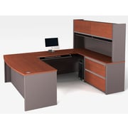 Bestar Connexion U-Shaped Workstation with Fully Assembled Oversized Pedestal, Bordeaux/Slate