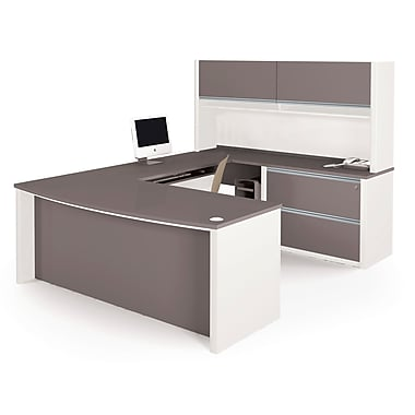 Bestar Connexion U-Shaped Workstation with Fully Assembled Oversized Pedestal, Slate/Sandstone