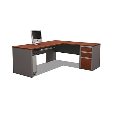 Bestar Connexion L-Shaped Workstation Kit with Fully Assembled Pedestal, Bordeaux/Slate